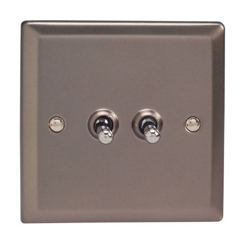 Varilight XRT2 Classic Pewter 2 Gang 10A 1 or 2 Way Toggle Light Switch